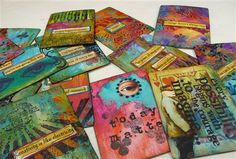 52 playing cards are altered in any way, shape or form….swapped with other artists and then each artist will receive 52 in return and will have an inspirational quote for every week in 2013! Love this idea, a great way to utilize old scraps and am going to make a few more for birthday and…