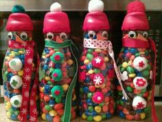 Coffee creamer containers filed with goodies - recycling containers Santa Crafts, Snowman Crafts, Diy Christmas Gifts, Christmas Projects, Kids Christmas, Holiday Crafts, Holiday Decorations, Lawn Decorations, Coffee Creamer Bottles