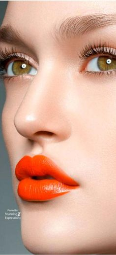 Color Palette Orange: Fashion, Beauty, Accessories, Home Decor and Nature in shades of Orange Orange Lipstick, Lipstick Colors, Dark Lips, Glossy Lips, Orange Color Schemes, Bright Eyes, Bright Colors, Blue Sparkles, Blue Makeup