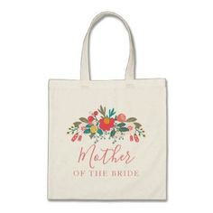 Pink Floral Bouquet Mother of the Bride with Name Tote Bag - wedding bag marriage design idea custom unique #weddingbouquets