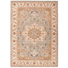 Ballard Designs Delson Hand Tufted Rug ($1,599) ❤ liked on Polyvore featuring home, rugs, blue rugs, blue floral rugs, persian area rugs, gray area rug and blue grey area rugs