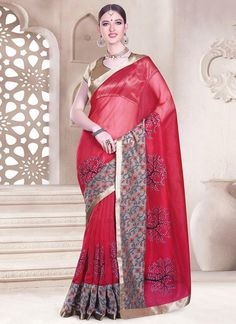 Glossy Chanderi Cotton Patch Border Work Casual Saree