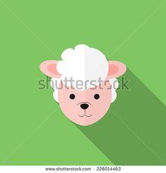 Modern Flat Design Sheep Icon Vector Illustration - stock vector