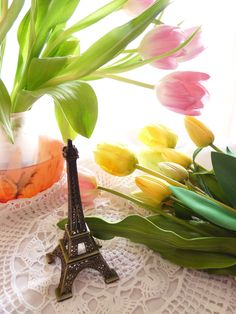 Tulips and Eiffel Tower - Photo by Ellerin Eadwine