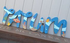 Personalized Wooden Wall Letters for Kids' Rooms by AllysCustomArt Personalized Wooden Wall Letters for Kids' Rooms - Inspired by Disney Pixar Finding Nemo Movie Favorite Toddler and Infant bedding theme