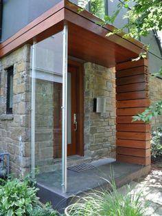 Front Door Porch Canopy Rain Ideas For 2019 Front Door Awning, Front Door Canopy, Porch Canopy, Front Deck, Front Stoop, Modern Front Porches, Modern Front Door, Sas Entree, Glass Porch
