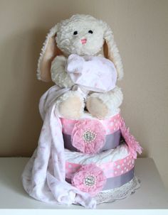 Pink and gray bunny diaper cake by MckayCakesnCrafts on Etsy