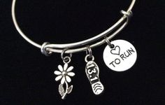 Love to Run 13.1 Silver Expandable Adjustable Bracelet Bangle Silver Wire Bangle Half Marathon