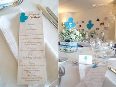 the table and menu for this angel themed baptism