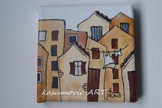 Brick house original mini canvas art by kasumovicART on Etsy, $25.00