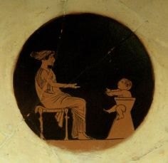 Attic red-figured Kylix, 480 BC. Mother with child in the gynekonites (women's' part of the house). Musée du Cinquantenaire, Jubelparkmuseum, Brussels.