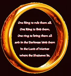 "I will have a replica made inscribed with ""one ring to rule them both, one ring to find them, one ring to bring them both and their love will bind them"""