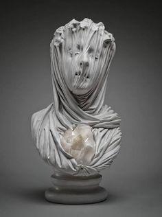 art sculpture face morbid ghost statues stone crystals Figures amethyst Bust Marble veils Livio Scarpella classical Renaissance amethyst or quartz