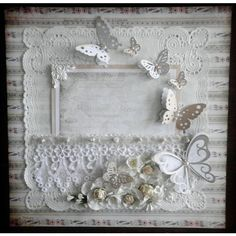Elegant Shabby Chic PreMade Scrapbook Lace Page byBecky ❤ liked on Polyvore featuring backgrounds