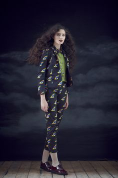 Flute Shirt in Parrot Scarf, Symbols Blazer in Parrot, Drums Trousers in Parrot.   Available from September 2012.  View the full collection:  http://www.charlottetaylorltd.com/#gallery_18  #charlottetaylor