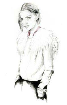 Caroline Andrieu a graduate of the Atelier de Sèvres and EPSAA. Caroline Andrieu is the art director of Condé Nast digital's departmentfor its Vogue & GQ websites. For more info on the Caroline Andrieu, visit the website. Fashion Illustration Sketches, Fashion Sketchbook, Fashion Sketches, Illustration Art, Fashion Drawings, Art Sketches, Liz Clements, Mode Collage, Trends Magazine