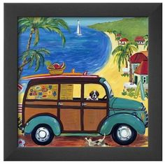 Art.Com Multi Woody At The Beach Framed Art Print Br ($51) ❤ liked on Polyvore featuring home, home decor, wall art, multi, beach scene wall art, beach home accessories, beach home decor, framed wall art and beach wall art