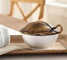 Cast Leaf Lidded Serve Bowl