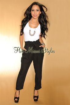 Black Semi-Sheer Belted High-Waisted Pants $44.99 Hot Miami Styles