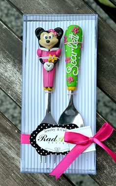 Minnie Personalized Gift Cutlery Set Girl Spoon by RadArtaDesign