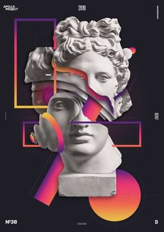 vaporwave statue Unlived Memories is a creative poster design where I used many different parts of Apollos Face as layers above each other that I combine with geometrical shapes. Graphic Design Trends, Graphic Design Posters, Graphic Design Inspiration, Creative Poster Design, Creative Posters, Design Art, Face Design, Cover Design, Photomontage
