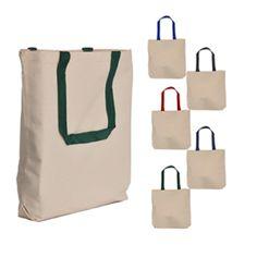 Exclusive Contrast Color Handles Canvas Tote Bag