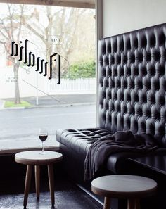 We would love a tall leather banquette in our kitchen...