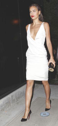 White dress + red lipstick