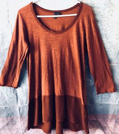 "LEFT OF CENTER Anthropologie Size M Rusty Brown Knit Tunic Button Bk FLAW 40"" Ch  