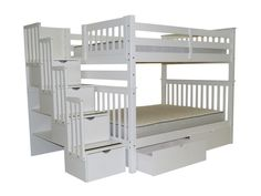 Bunk Bed Full over Full Stairway White with 2 Extra Drawers  bunk bed external dimensions are approx 70 high x 104 wide x 59 inches deep