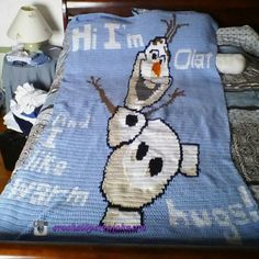 My Olaf blanket for a twin bed
