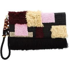 Lizzie Fortunato Jewels Tapestry Clutch Bag (€440) ❤ liked on Polyvore featuring bags, handbags, clutches, black, tapestry purse, leather purses, lizzie fortunato jewels, real leather purses and genuine leather handbags