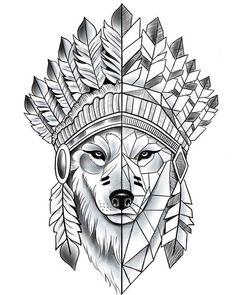 Wolf Tattoos, Animal Tattoos, Body Art Tattoos, Tattoos Skull, Wolf Tattoo Design, Indian Tattoo Design, Art Drawings Sketches, Tattoo Sketches, Tattoo Drawings