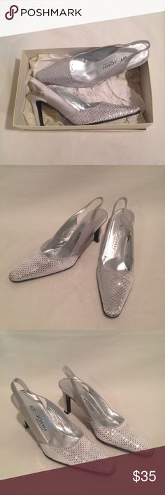 EUC ST. JOHN Women's Slingback High Heels Sequin St. John silver sequin slingbacks. Gorgeous shoes and perfect for a fun night out or formal occasion.  Condition:  Excellent used condition, like new. Only worn a couple times. Minimal wear on soles and these come with the box. Style:sequin slingbacks  Size:Women's 7B St. John Shoes Heels