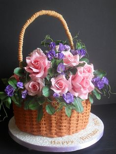 Happy Birthday cake with flowers and basketwork on the sides Gorgeous Cakes, Pretty Cakes, Cute Cakes, Amazing Cakes, Cake Icing, Buttercream Cake, Cupcake Cakes, Bolo Chanel, Flower Basket Cake