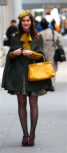 Leighton Meester- LOVE HER. Want to steal that outfit! Such a cute cape!