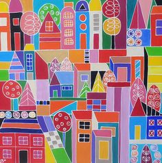 Urban Cityscape II Painting by Elizabeth Langreiter - Urban Cityscape II Fine Art Prints and Posters for Sale
