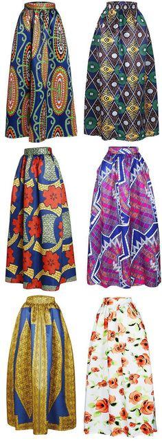 Printed High Waisted Maxi Skirt, African Fashion
