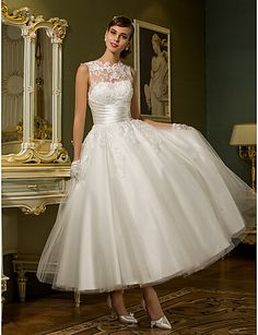 A-Line High Neck Ankle Length Lace Over Tulle Made-To-Measure Wedding Dresses with Appliques / Sash / Ribbon / Ruched by LAN TING BRIDE® / See-Through