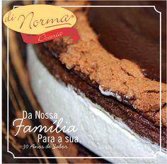 Nós da Di Norma, desejamos que seu final de semana seja doce!!! Torta Suíça: Levíssima massa de cacau, recheio de chantilly e cobertura de chocolate meio amargo. #DiNorma #love #cake #pie