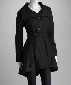 Black Belted Flare Trench Coat