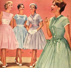 1950s summer catalogue frocks - love a structured shirtwaist, not to mention the colours are amazing