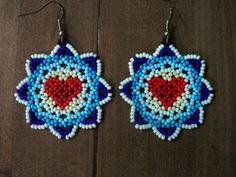 Items similar to Huichol Beaded Earrings Free Ship! Heart! on Etsy