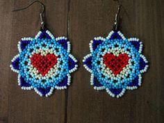 Huichol Earrings Free Ship Heart by ManoDeGato on Etsy