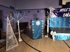 School talent show snowflake white and blue theme winter theme Talent Show, Winter Theme, Snowflakes, Ms, Language, Dance, School, How To Make, Blue