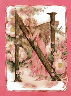 Letter N and Fairy Fairy Paintings, Fairy Pictures, 3d Pictures, Kobold, Alphabet Art, Flower Fairies, Illuminated Letters, Fairy Art, Illustrations