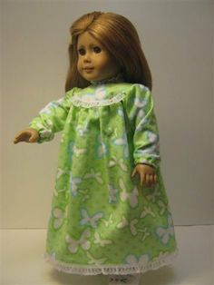 American Girl Doll Clothes Lime Nightgown With Blue by GirlSewChic