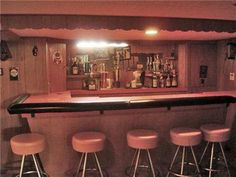 Dream basement 1952 one-owner home Kenosha, WI -I've seen many of these in the basements of homes in Chevy Chase, Lexington KY. Often covered with junk, unearth them Vintage Bar, Vintage Love, Vintage Decor, Retro Vintage, Mid Century House, Mid Century Style, Rose House, Pink Bar, Atomic Ranch