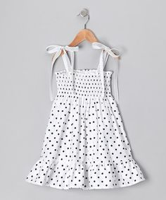 Take a look at this White Polka Dot Shirred Dress - Infant, Toddler & Girls by De n' L on #zulily today!