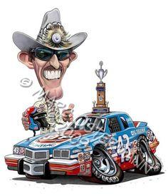 Richard Petty, King Richard, Weird Cars, Cool Cars, Cartoon Car Drawing, Cool Car Drawings, Nascar Race Cars, Truck Art, Vintage Race Car